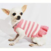 Pink Dog Dresses Peach Diamond Necklace Pet Accessories