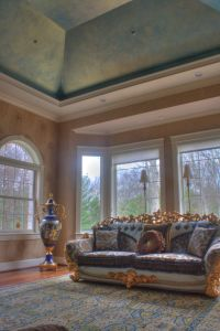 Tray Ceiling in Living Room with Iridescent Peacock Blue ...