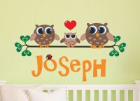Family of 3 owls wall decal Personalized Name for Baby boy ...