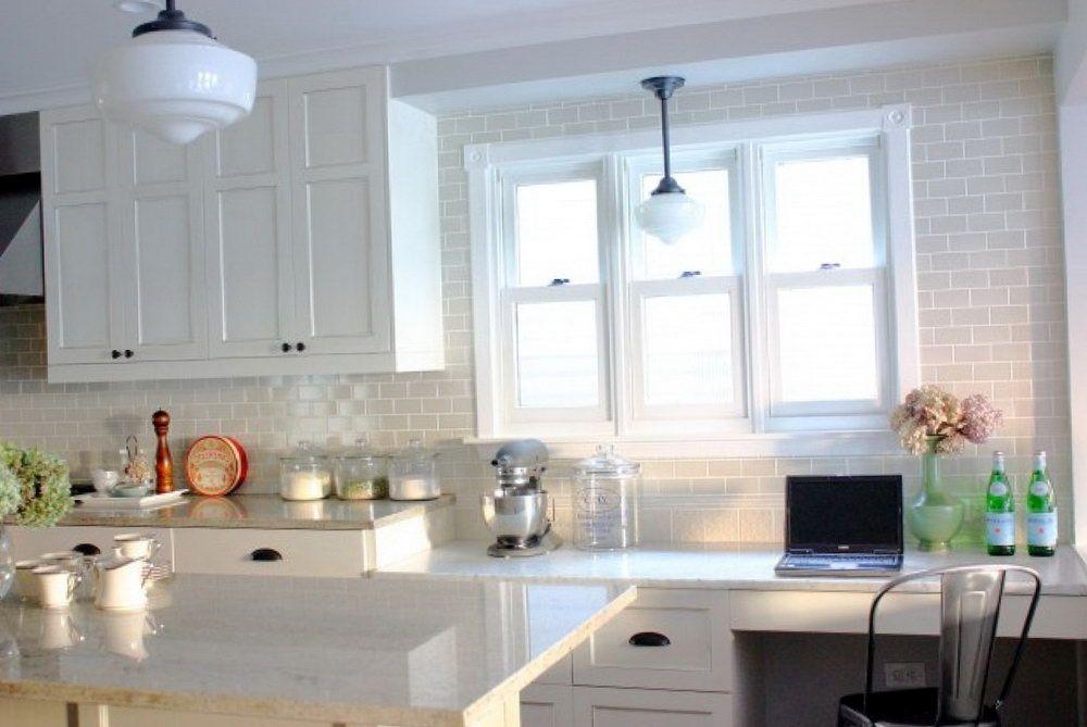 Kitchen Backsplash White Cabinets Design Subway Tile