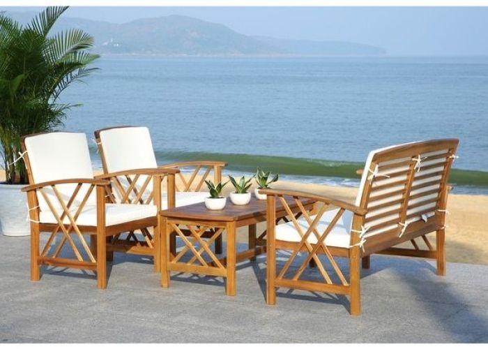 Safavieh fontana teak finish beige acacia wood piece outdoor furniture set also
