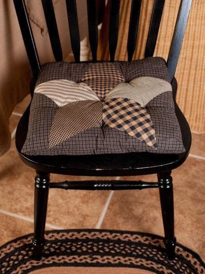 dining room chair seat cushion covers reclining and a half leather new country primitive black tan farmhouse star quilted pad | pads ...