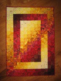 Art Quilt, Fire Red Yellow Fabric Wall Hanging Handmade ...