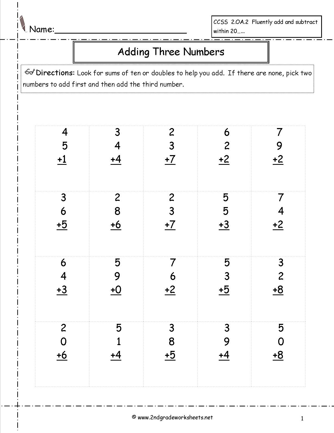Adding Three Single Digit Addition Worksheets
