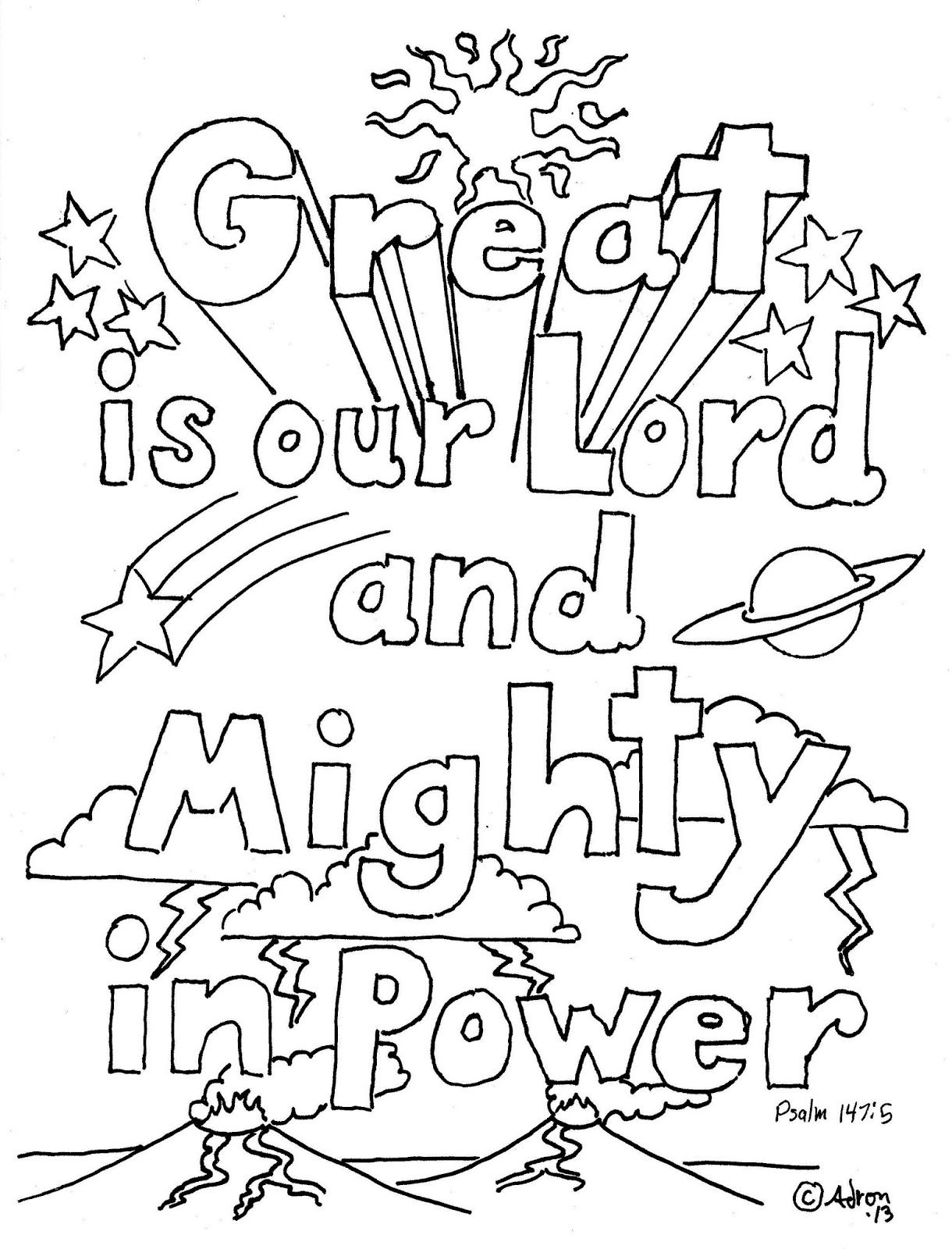 Coloring Pages for Kids by Mr. Adron: Great Is Our Lord