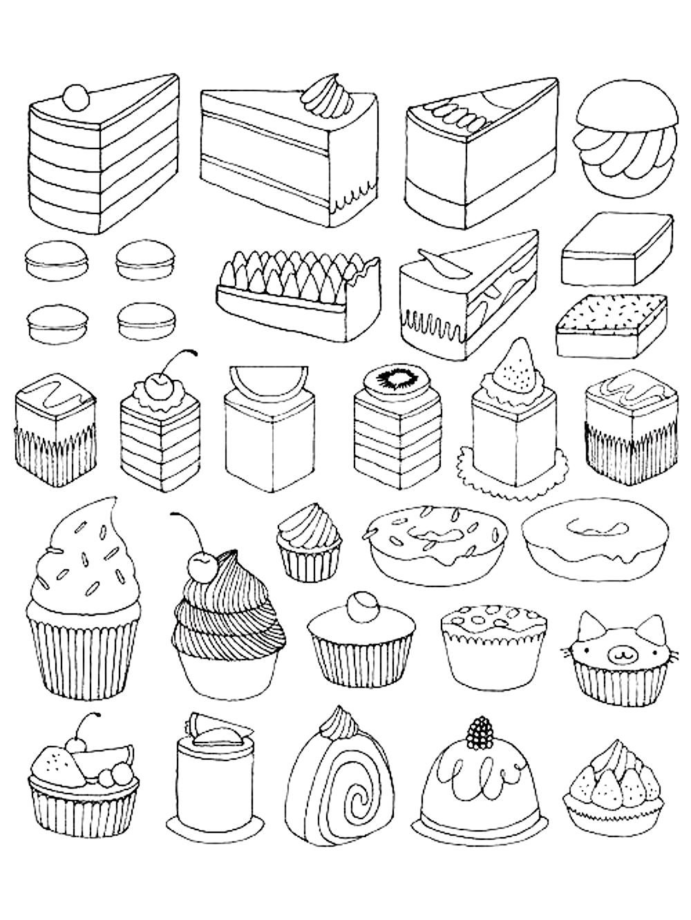 Free coloring page coloring-adult-cupcakes-and-little
