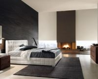 Modern - Luxury - Bedroom - Black - White - Fireplace ...