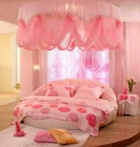 Girl Bedroom With Canopy Fabrics And Round Bed | Round ...