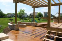 concrete patio seating | acid stained concrete patio ...