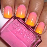 Ombre pink to orange sunset nail art by alexxnails. #nails ...
