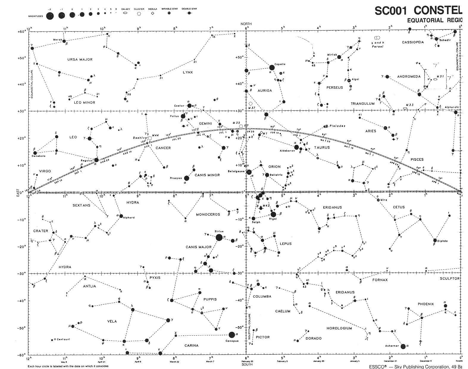 Northern Hemisphere Winter Constellation Map