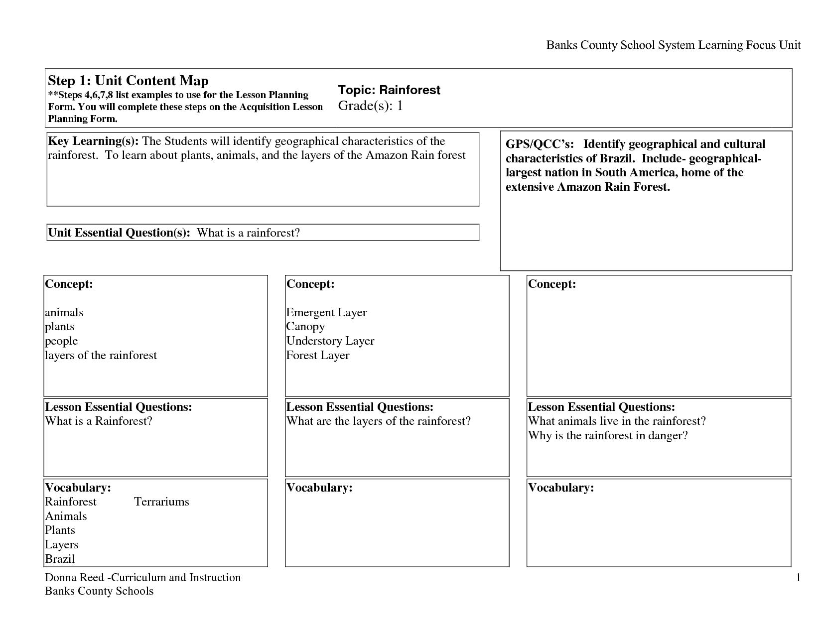 Emergent Curriculum Lesson Plan Template
