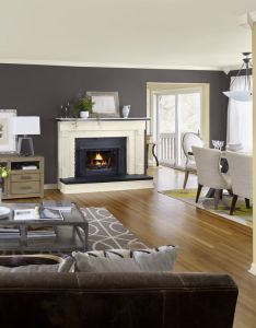 Artisan living room with grey color and cream fireplace wooden floor modern two tone paint ideas accent wall also for the home pinterest ceiling trim rh