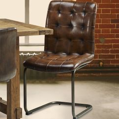 Metal Frame Leather Dining Chair Chairs For Tv Room Vintage Tall