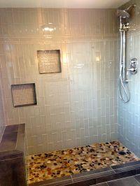 Glass subway tile shower, glass mosaic niches, flat stone ...