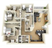 3 Bedroom 3D Floor Plan | Interior Design | Pinterest | 3d ...