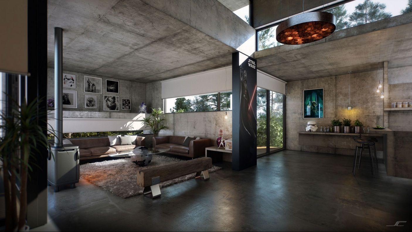 Exciting Concrete Interior Design For Spacious Home Decorating