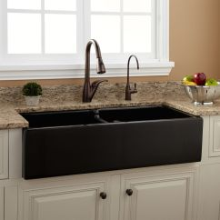 Fireclay Kitchen Sink Aristokraft Cabinets 39 Quot Risinger Double Bowl Farmhouse Black