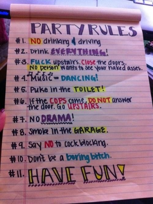 College Party Rules Pinteres