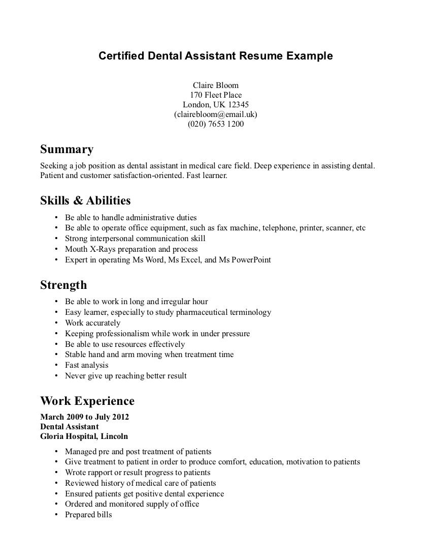 Dental Receptionist Resume Example