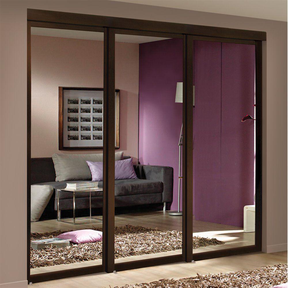 Espresso Mirrored Sliding Closet Door