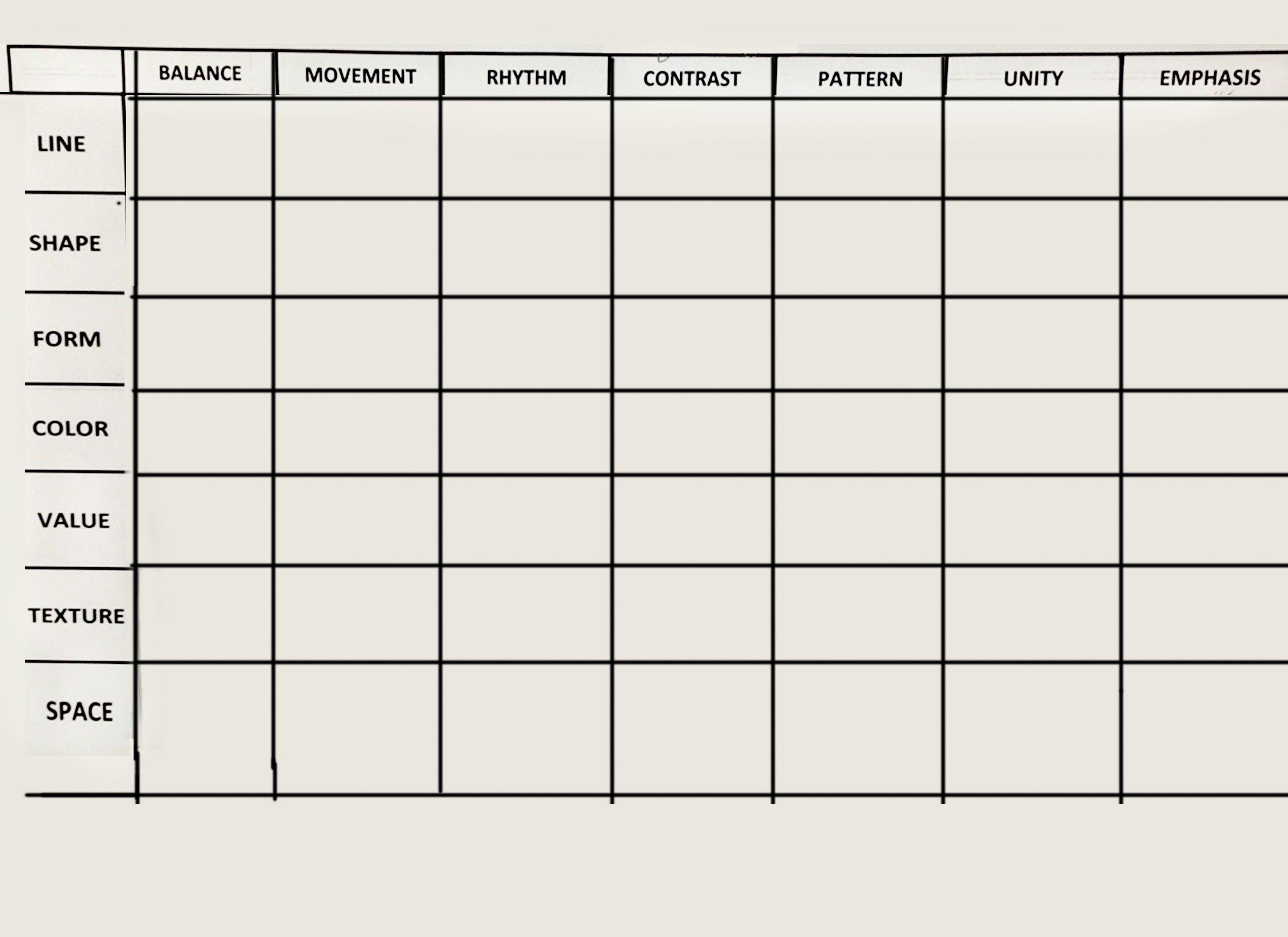 Assignment 1 Elements Amp Principles Design Matrix