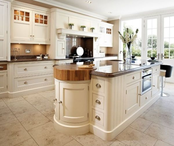 cream kitchen with islands Luxury handcrafted kitchen island with integrated butchers