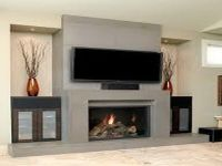 Interior, Contemporary Fireplace Wall Designs With Flat