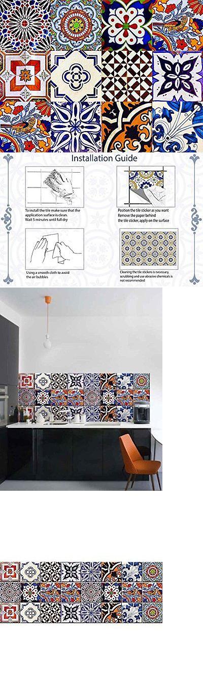Tile art backsplash stickers pc set authentic traditional talavera tiles stick also rh pinterest