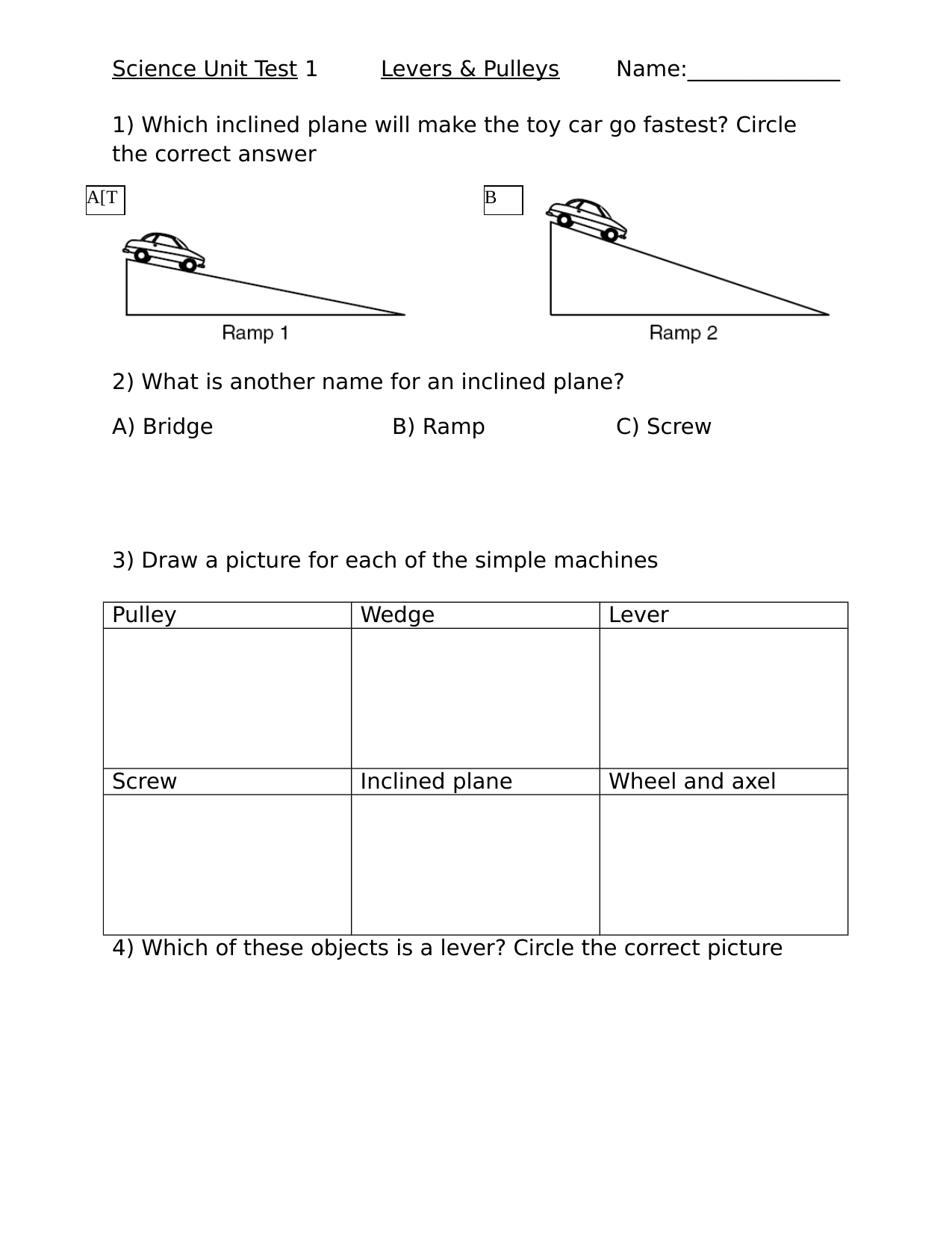 Simple Machines Unit Test 1 Resource Preview