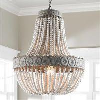 Aged Wood Beaded Chandelier | Wood bead chandelier, Aged ...