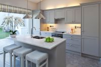 Kitchen - grey cabinets with white quartz worktop ...