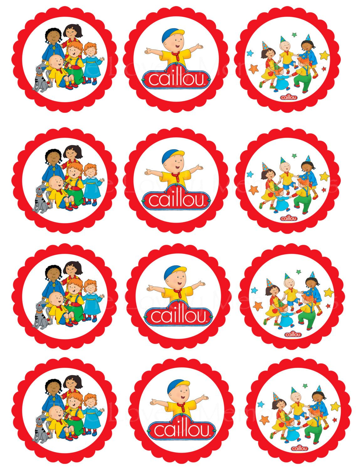 This Listing Is For Caillou Theme Inspired Printable Cupcake Toppers Printable File Each