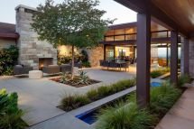 Contemporary Outdoor Fireplace Courtyard