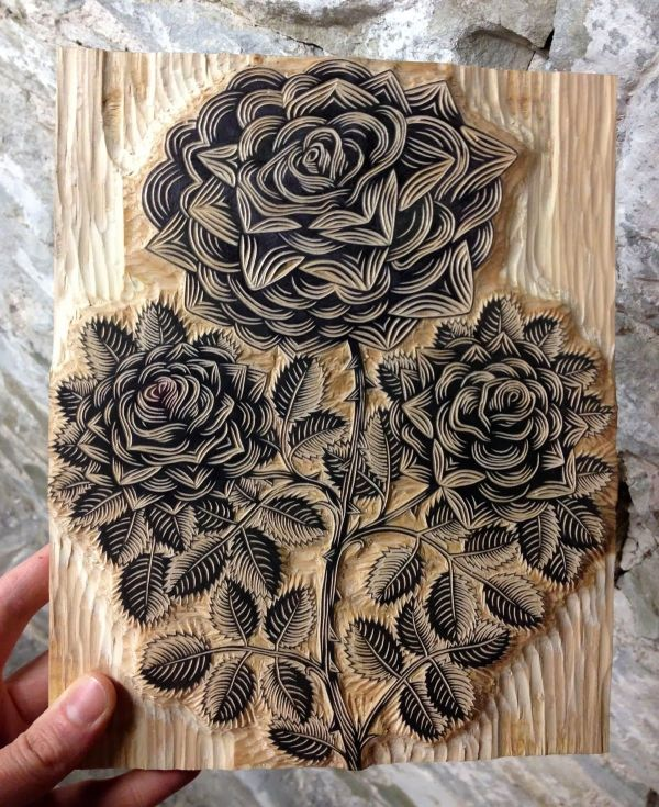Linoleum Block Print Flower Pinterest