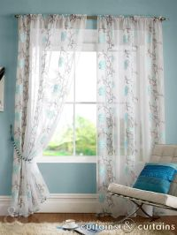Teal Blue Floral Slot Top Voile Curtain Panels | Teal ...