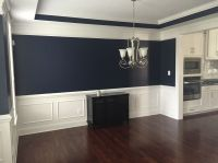 Absolutely love this navy blue color in our dining room ...