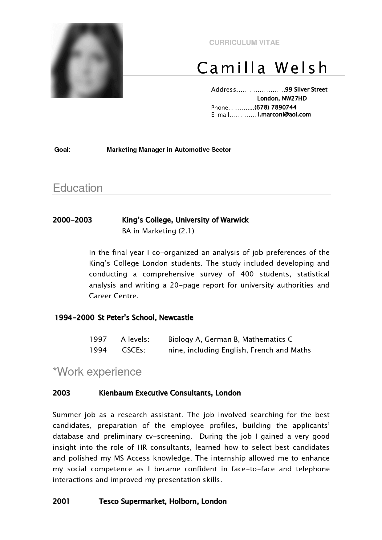 Resume Template Pinterest Cv Sample Curriculum Vitae Camilla Resume Pinterest