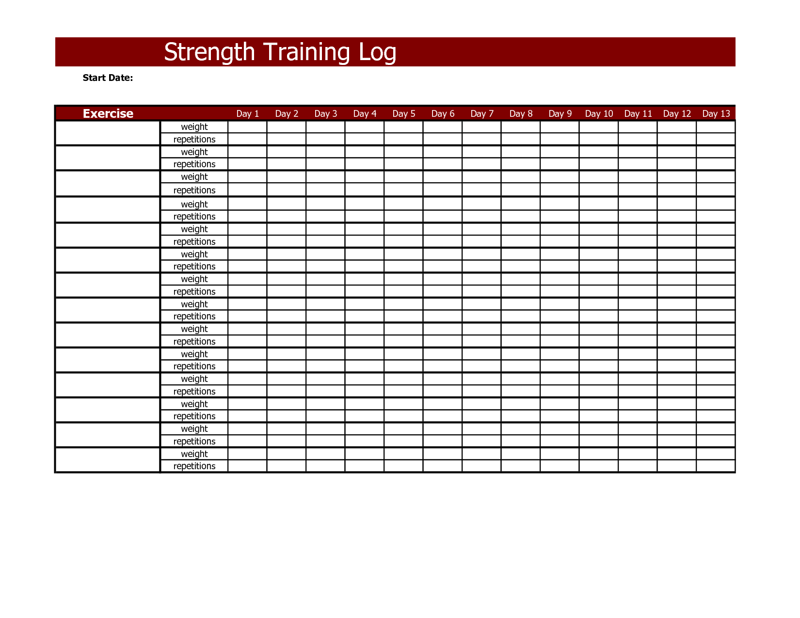 Strength Training Log