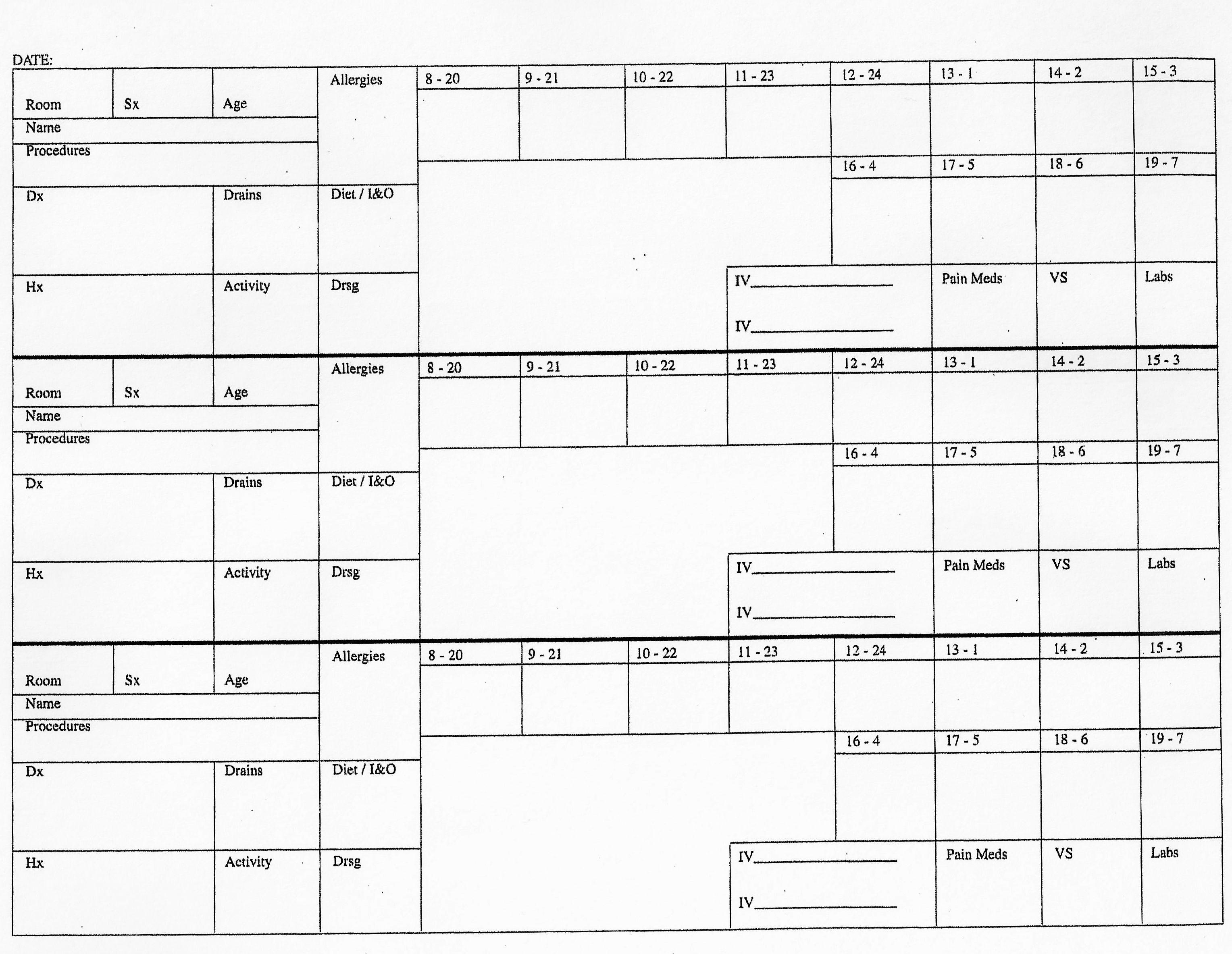 3 Patient Planning Sheet