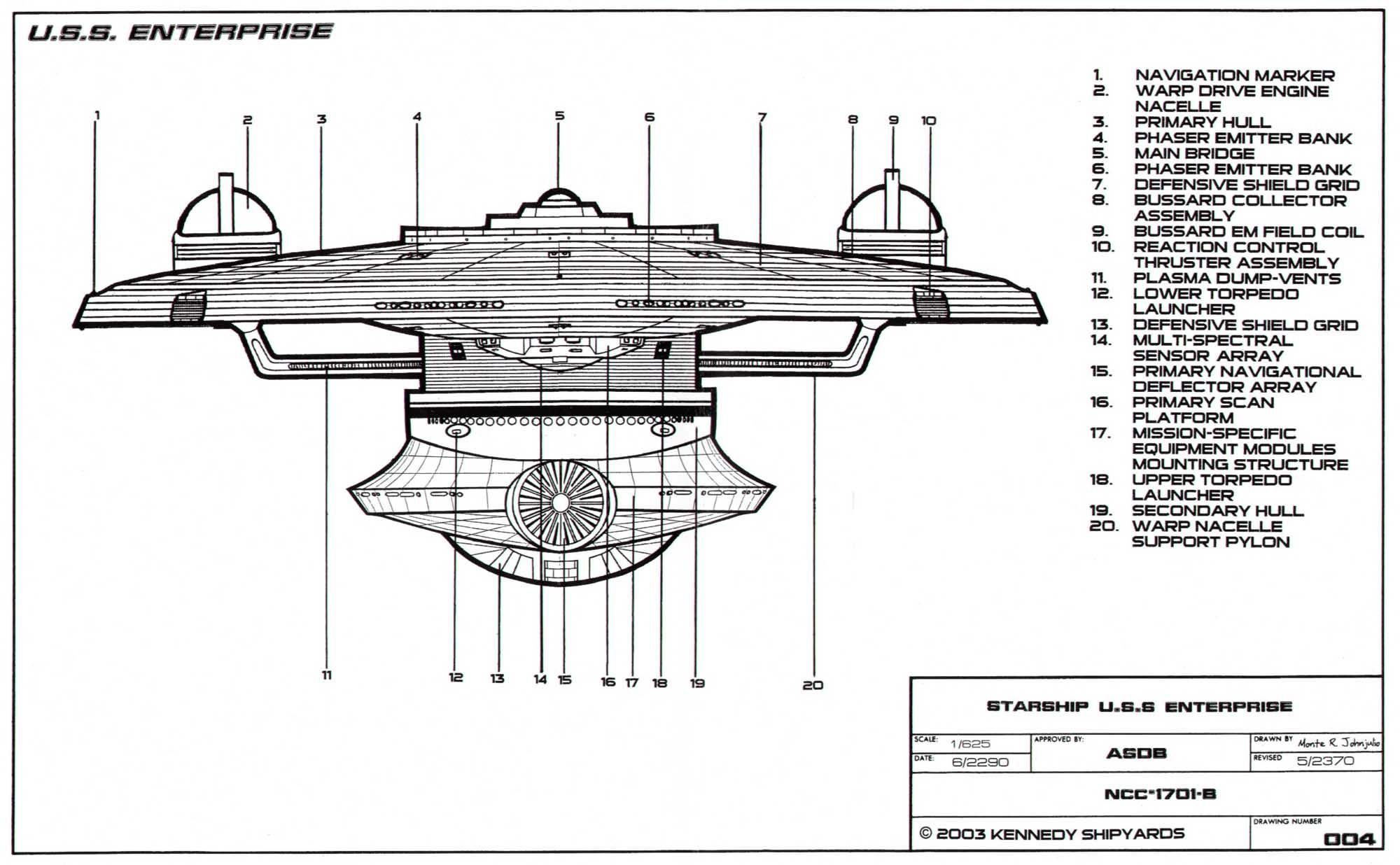 Bow-side schematic of the Excelsior-class Enterprise NCC