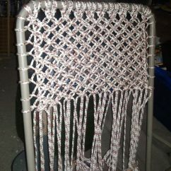 Macrame Lawn Chair Leather Accent Alternating Square Knots Couldn 39t