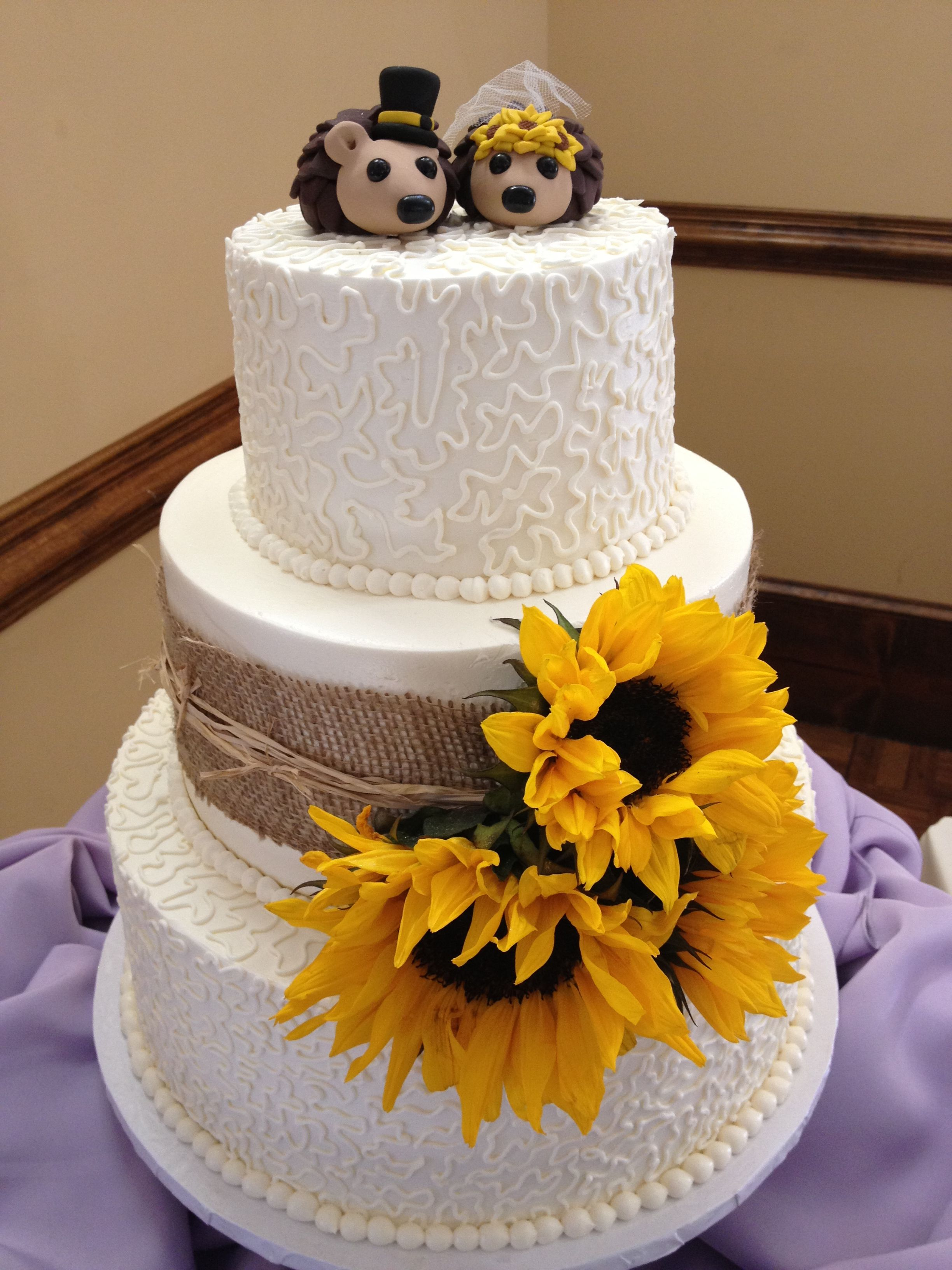 Sunflower Country Cake With Hedgehog Toppers Blondies