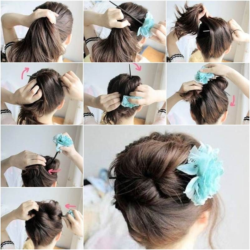 How To DIY Easy Bun Hairstyle Using Chopstick Updo Elegant Updo