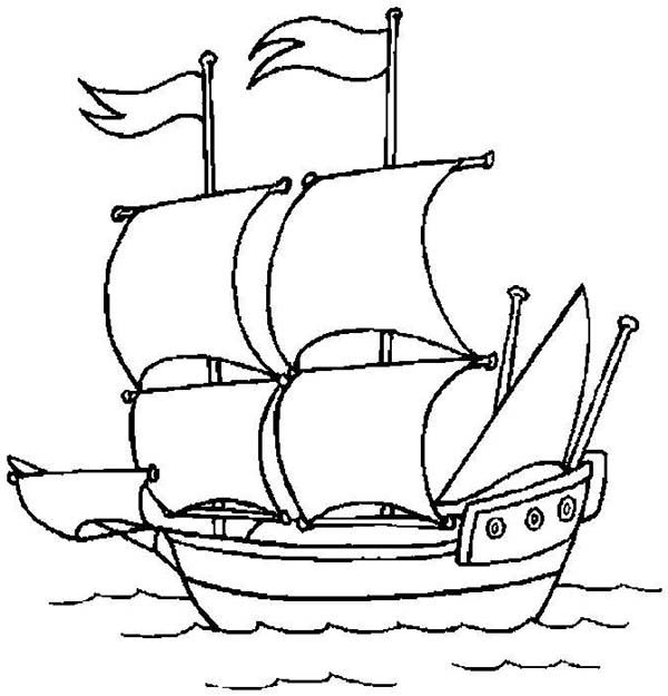 Pirate Ship, : A Pirate Ship Open Sail to the Ocean