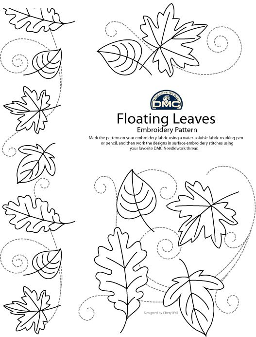 Floating autumn leaves (pattern for hand embroidery @ DMC