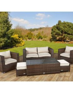 Ascot seater rattan garden sofa set in chocolate and cream also rh pinterest