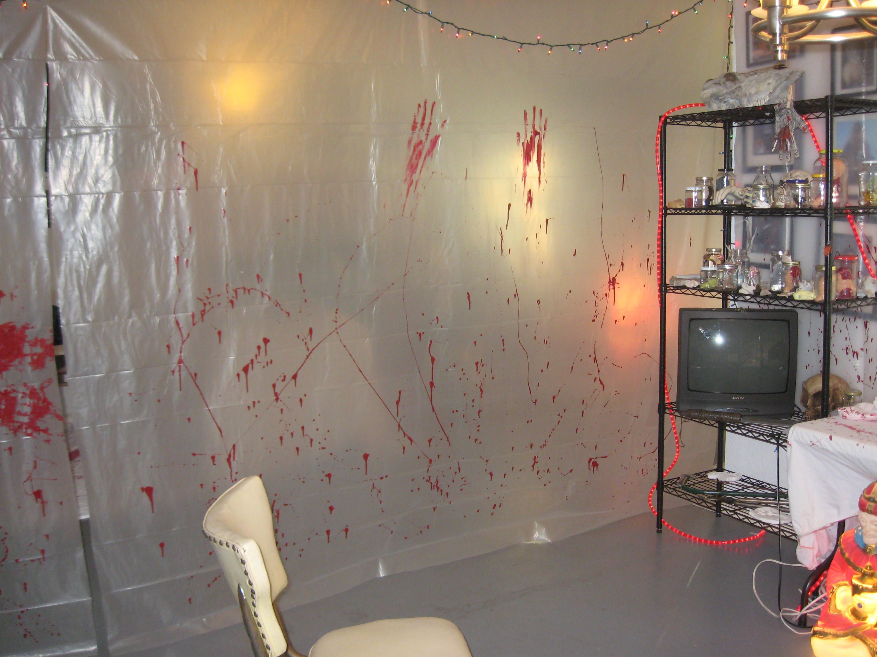 Hanging Creepy Blood Stained Plastic Sheeting Would Give The