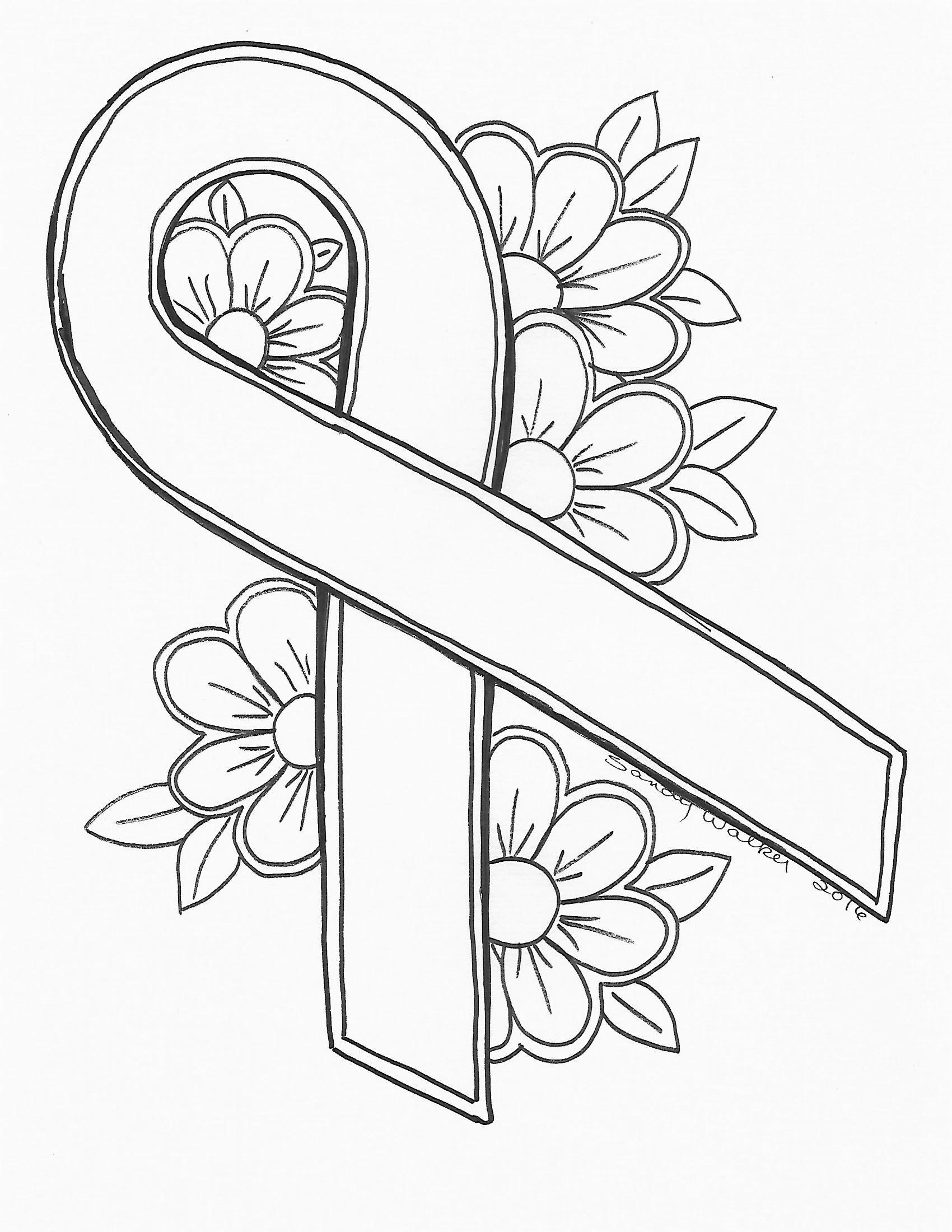 An Original by Sandra Walker 2016. Ribbon for Cancer