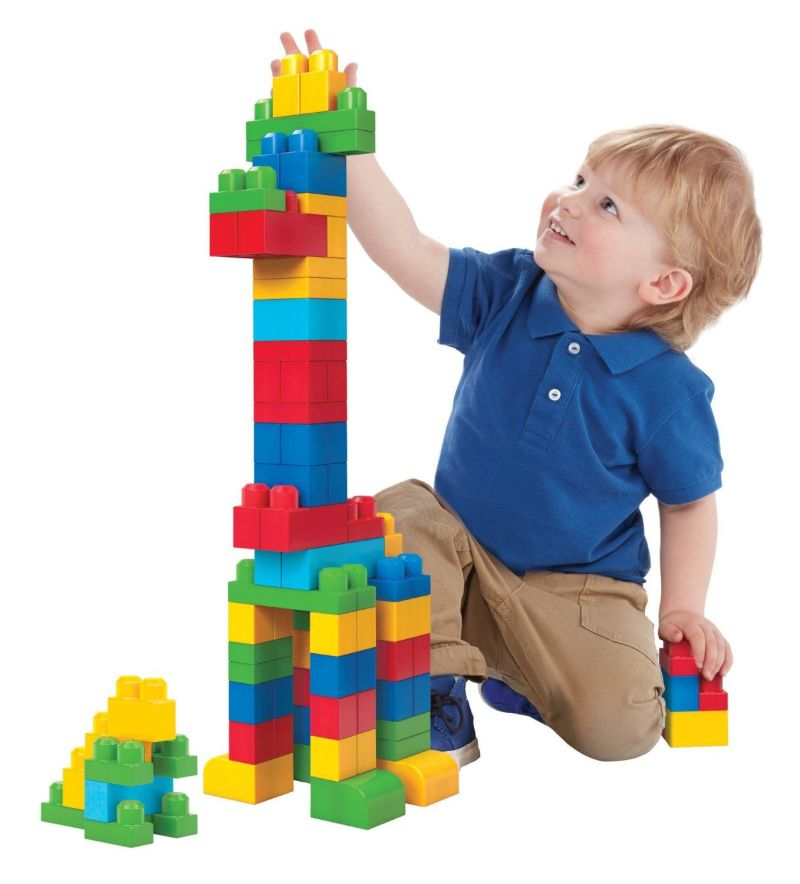 There are a few pictures of children playing with blocks at ...